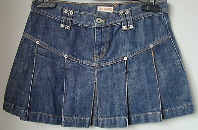 Minigonna in jeans denim blu scuro pieghe 44 jupe rock skirt gonna w 30 ITALY