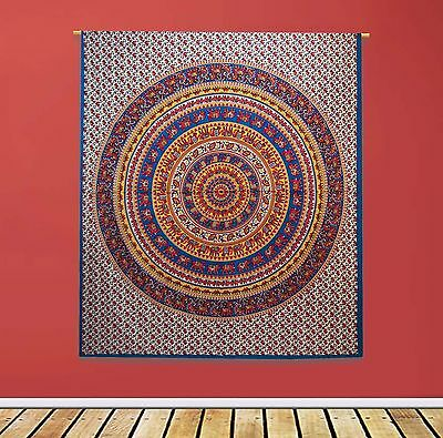 Vintage Mandala Tapestry Indian Wall Hanging White Cotton Sheets Decor 92 X 82