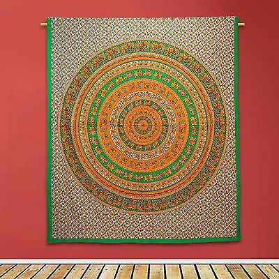 Vintage Mandala Tapestry Indian Decor White Cotton Room Wall Hanging 92 X 82