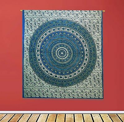 Vintage Mandala Tapestry Indian Cotton Sheets Decor White Wall Hanging 92 X 82
