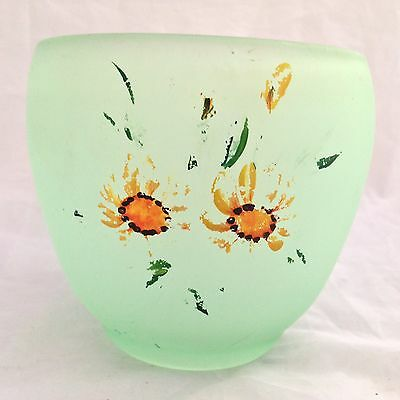 BAGLEY FROSTED GREEN 'Transfer decorated' GLASS BOWL / PLANTER  - Vintage