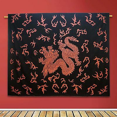 Vintage Dragon Printed Tapestry Black Wall Hanging Cotton Indian Decor 92 X 82