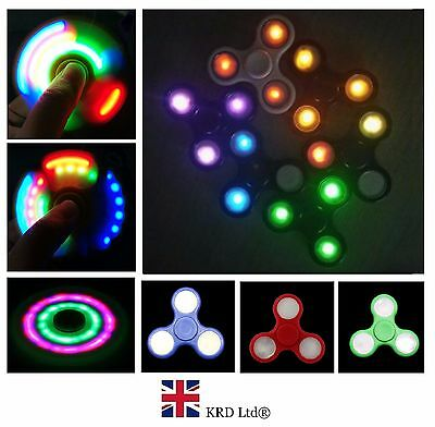 LED Flashing EDC Hand Spinner Finger Light Up Toys Fidget Stress ADHD Cube UK