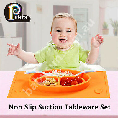 Baby Silicone Tableware Set Large Non Slip Placemat Food Bowl Dish Plate Mat K10
