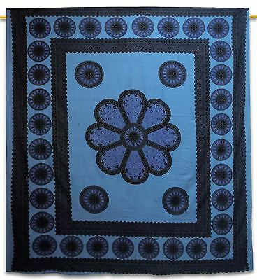 Vintage Floral Tapestry Grey Wall Hanging Cotton Indian Home Decor 92 X 82