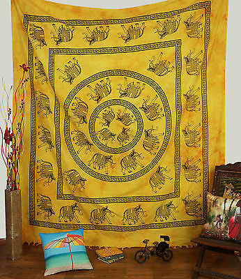 Vintage Style Elephant Print Tapestry White Yellow Fabric Wall Hanging 92X 82