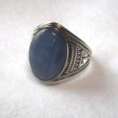 Bague Tanzanite bleue 9,76 cts, Style ancien, Argent massif 925, Taille 59