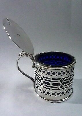 Victorian Hallmarked Silver Mustard Pot by Thomas Levesley 1898 w/ Glass Liner