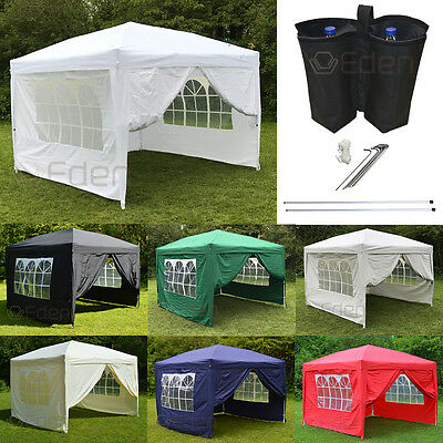 Pop-Up 3m Waterproof 4-Side Gazebo Marquee Garden Awning Party Tent Canopy White