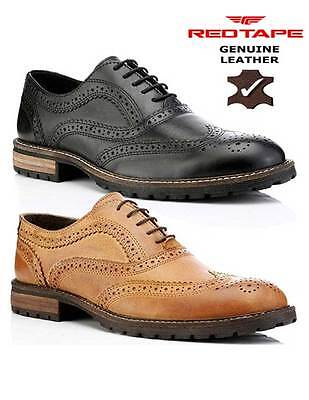 Red Tape Barrow Black Brown Leather Mens Brogues Style Formal Shoes Lace Up UK