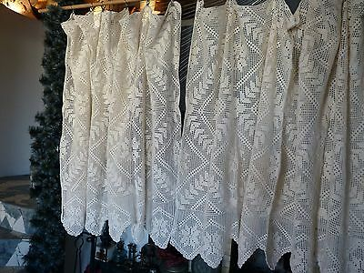 PAIR of vintage retro shabby chic hand-crocheted cotton lace curtains