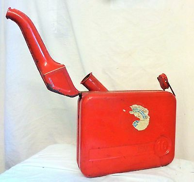 Vintage Old Collectable 1G Tudor Red  Petrol Fuel Can Classic Car Scooter