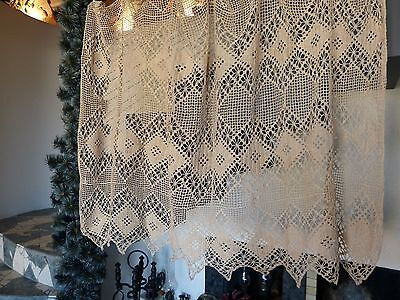 Vintage retro shabby chic hand-crocheted cotton lace kitchen curtain
