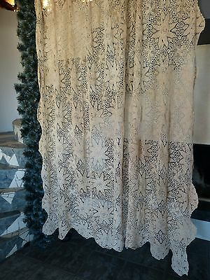 Vintage retro shabby chic hand-crocheted cotton curtain/ bedspread/ tablecloth