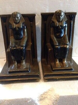 B 85 Antique Cast Metal Egyptian Bookends
