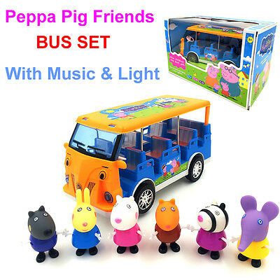 NEW Peppa Pig Bus Set 6pcs Friends with Music & Light Peppa Pig Toys Baby Gift
