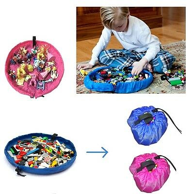 Small Baby Kids Portable Play Mat Tidy Up Bin Toy Storage Bag Blanket 45cm