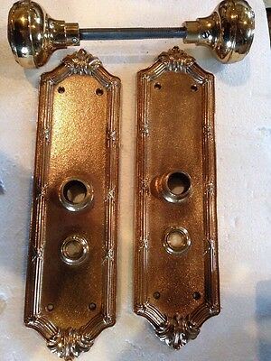 B 86 Antique Heavy Cast Brass/Bronze Entrance Set Cleaned/lacquered No Lockbox