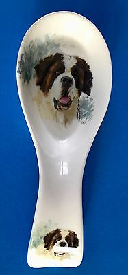 Collectible China Spoon Rest ~ Hand-decorated With Head of St. Bernard Dog