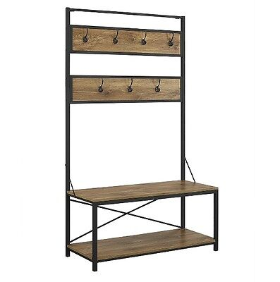 Hall Tree Bench Industrial Metal Wood Coat Rack Seat Durable Sturdy Furniture
