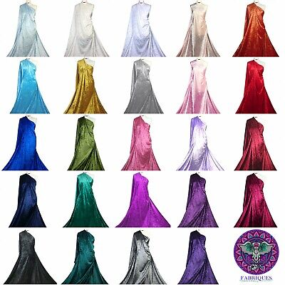 Premium Quality Crushed Velvet Medium Weight 2 Way stretch Fabric Material CV01
