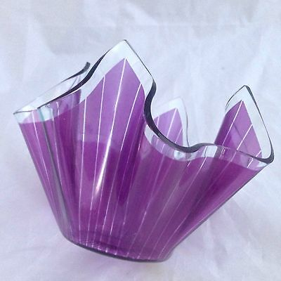 1960s CHANCE GLASS 'CORDON' PURPLE HANDKERCHIEF VASE - 10cm height