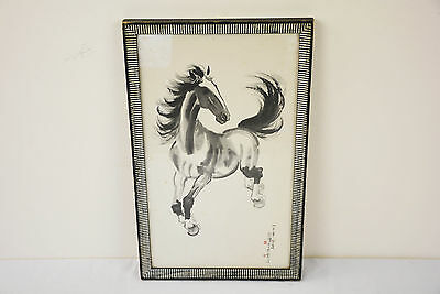 Vintage 1940 Chinese Xu Beihong 徐悲鸿 Water Color Scroll Painting Horse Signed