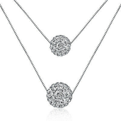 Women's Fashion 925 Sterling Silver Zircon Ball Bead Pendant Two Chain Necklace