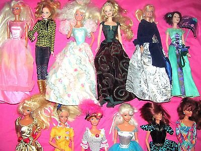 Vintage Lot 12 Barbie Dolls With Clothes & Some Shoes