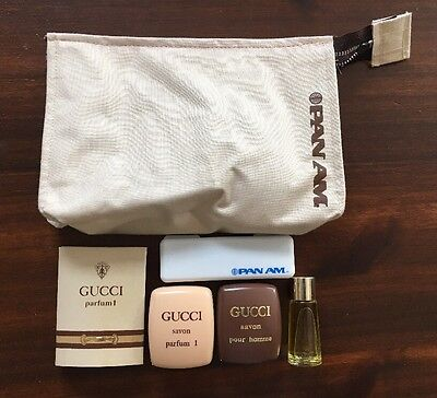 Vintage Pan Am Airlines Gucci Parfum 1 Pour Homme 1st Class Toiletry Travel Kit