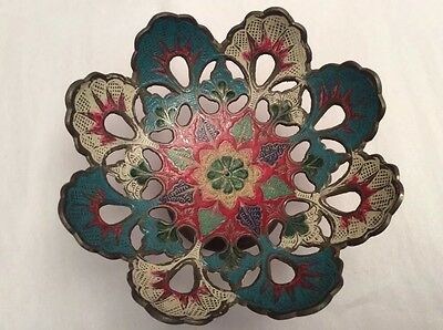 Vintage/Antique Painted Brass Footed Flowers Cut-out Serving Fruits Dishes