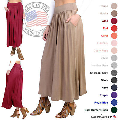 FACA Womens High Waist Shirring Maxi Skirt Ankle Length with Pockets (S-XXXL)
