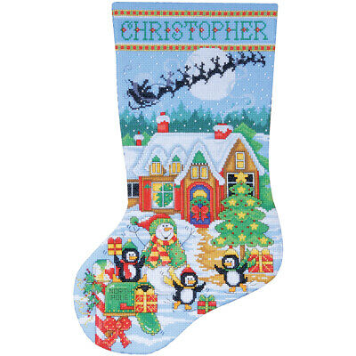 """Tobin Penguin Party Stocking Counted Cross Stitch Kit-17"""" Long 14 Count"""