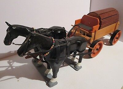 Vintage Hand Crafted Wood Horse And Cart   Folk Art