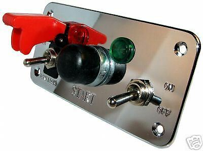 Switch Panel Ignition Push Button Start Road Rally 5 Hole Chrome 12v