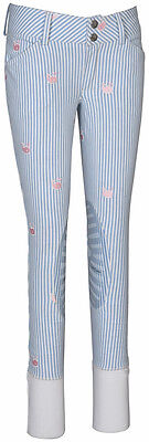 CLOSEOUT Equine Couture Girl's Stripe Whales Equestrian Breeches Blue Size 6