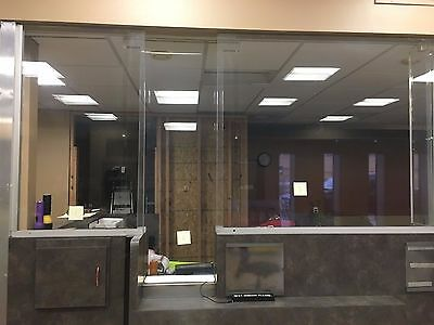 """Bullet Resistant Acrylic Security Glass 1.25"""" Thick """"T"""" Shaped"""