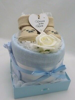 New baby girl/boy Nappy cake & heart gift basket/hamper baby shower maternity