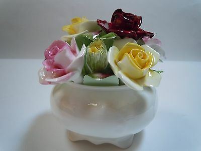 Royal Doulton England Bouquet of Rose Flowers Bone China Footed