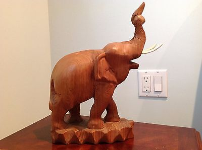 """Vintage Large 14"""" Carved Wooden Elephant Trunk Up with Both Tusks"""