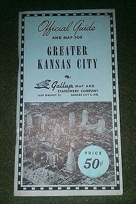 Gallup's OFFICIAL GUIDE & MAP of GREATER KANSAS CITY 1951 Amazing Condition!