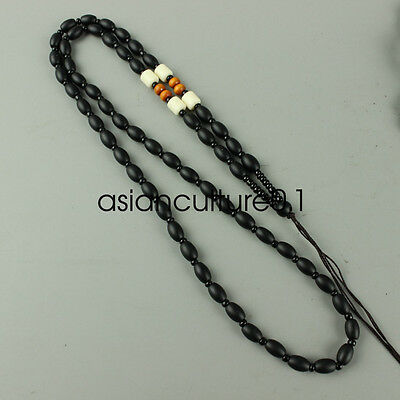 Chinese Obsidian hand woven pendant necklace LMQQ112