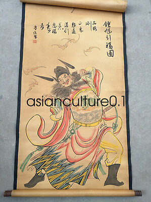 Collect Chinese hand painted painting on Paper Zhong Kui murals LM672