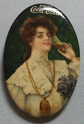 Very Rare 1906 Coca Cola Celluloid Advertising Pocket Mirror Beautiful Girl Mint