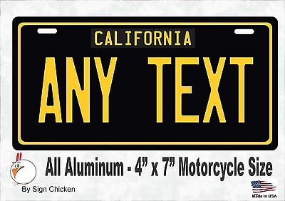California Black, Personalized Custom License Plate with border MOTORCYCLE 4x7