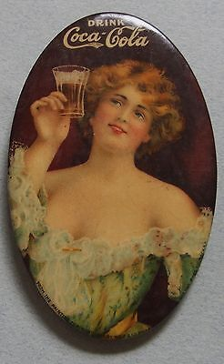 Very Rare 1907 Coca Cola Celluloid Advertising Pocket Mirror Beautiful Girl Mint