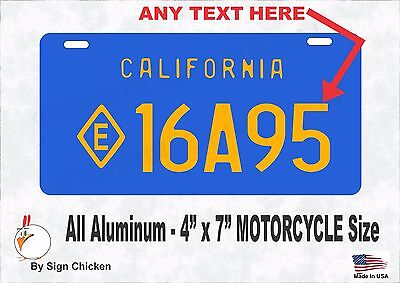 California VINTAGE  BLUE , Personalized Custom License Plate - MOTORCYCLE 4 X 7