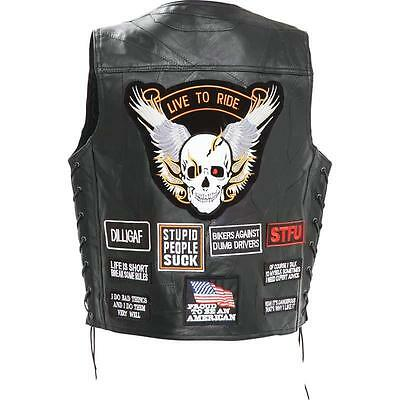 Men's Genuine Buffalo Leather Concealed Carry Biker Chopper Vest with 16 Patches