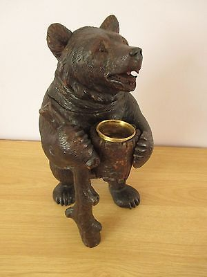 "Antique Quality 12"" Black Forest Hiking Bear Tobacco Jar Swiss Wood Carving"