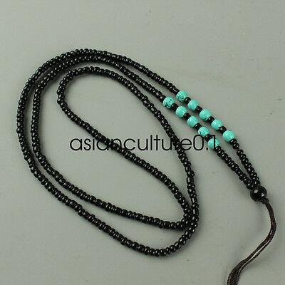Chinese Obsidian hand woven pendant necklace LMQQ113